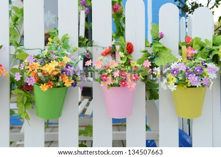 Flower pot stock photos images pictures shutterstock - Flower pots to hang on fence ...
