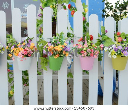 Garden pergola stock photos images pictures shutterstock - Flower pots to hang on fence ...
