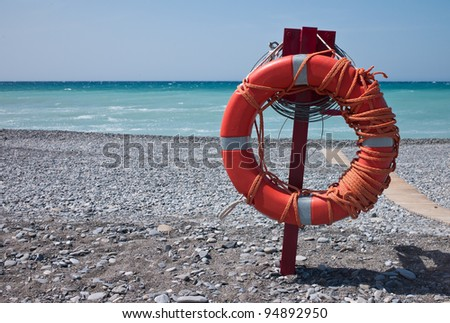 hanging lifebuoy - stock photo