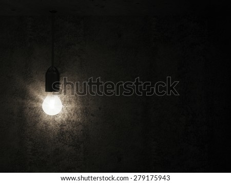 Hanging Light Bulb in the Empty Concrete Room Interior with place for Your Text - stock photo