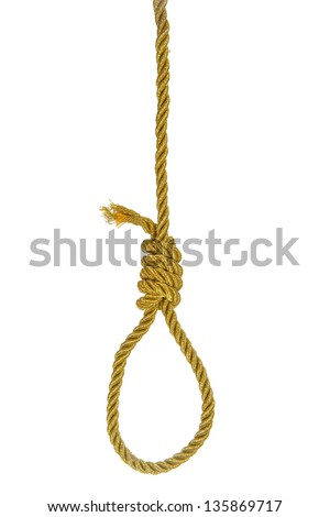 Hanging noose on golden rope isolated over white - stock photo