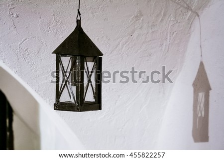 Hanging old lamp - stock photo