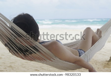 Hanging Out in the Hammock - stock photo