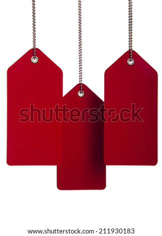 Hanging red tags on the white background - stock photo
