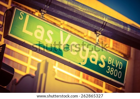 Hanging Street Pole Las Vegas Boulevard Sign. Famous Las Vegas Strip Street. Nevada, United States. - stock photo
