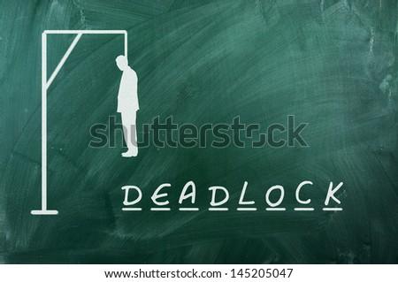 Hangman game on green chalkboard ,concept of deadlock - stock photo