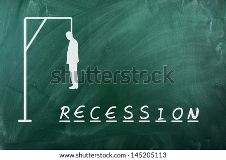 Hangman game on green chalkboard ,concept of recession - stock photo