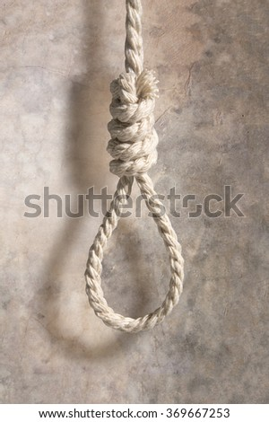 hangmans noose with shadow on concrete wall - stock photo