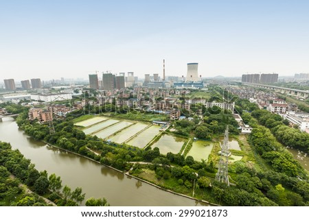 Hangzhou suburbs aerial view in China - stock photo