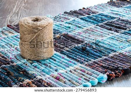 hank jute yarn on the mat - stock photo
