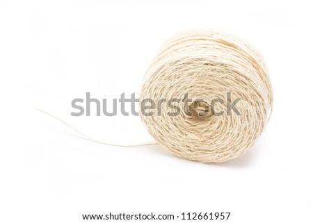 Hank of white rope isolated on white background. - stock photo