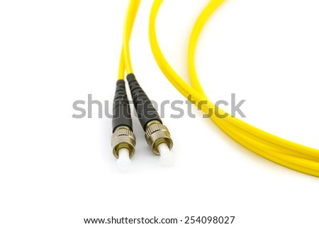 Hank of yellow optic cable with connector of FC type pig tails isolated on white background - stock photo