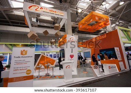 HANNOVER, GERMANY - MARCH 14, 2016: Booth of Alibaba Group at CeBIT information technology trade show in Hannover, Germany on March 14, 2016. - stock photo