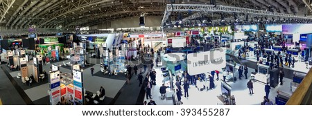 HANNOVER, GERMANY - MARCH 15, 2016: Hall 2 at CeBIT information technology trade show in Hannover, Germany on March 15, 2016. - stock photo
