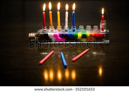 Hannukiyah  with candlesticks - stock photo