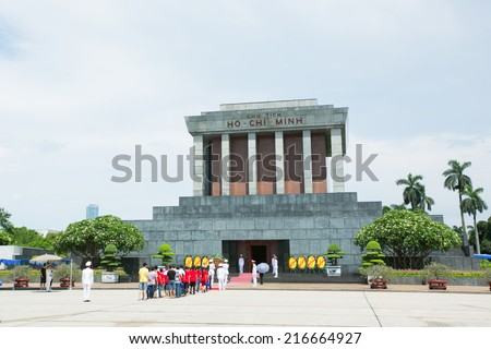 HANOI, VIETNAM - JULY 10 : Unidentified visitors at the Ho Chi Minh Mausoleum on July 10, 2014 in Hanoi, Vietnam. Ho Chi Minh Mausoleum is a large memorial in Hanoi, Vietnam. - stock photo
