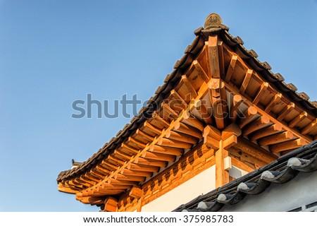 Hanok roof found in Seoul Korea - stock photo
