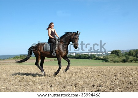 Hanoverian. Equestrienne gallops on field. - stock photo