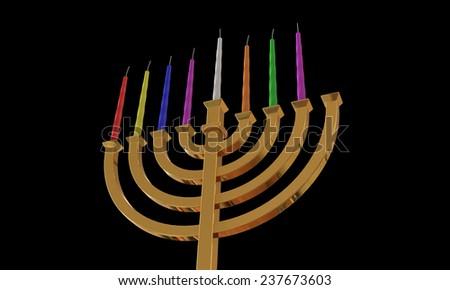 Hanuka menorah and candles isolated on black - stock photo