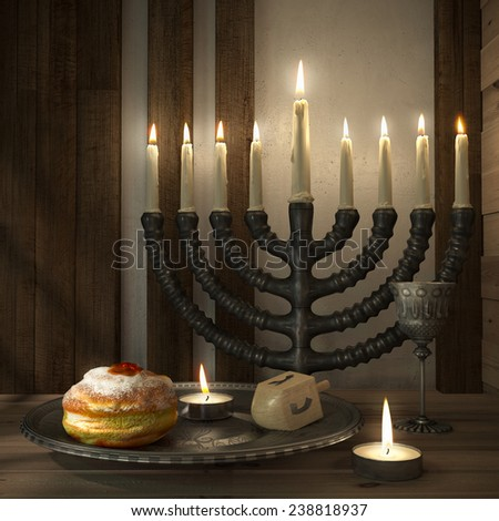 hanukkah background with candles, donuts, spinning top - stock photo