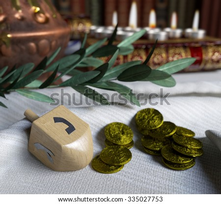 hanukkah close up with candles,spinning top and gold antique coins - stock photo