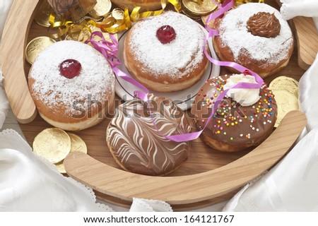 Hanukkah donuts with jam and chocolate - stock photo