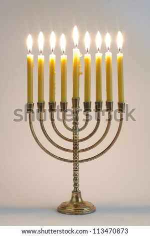 Hanukkah menorah with candles - stock photo