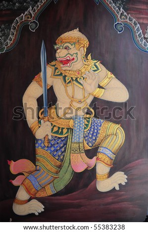 Hanuman in Ramayana story - stock photo