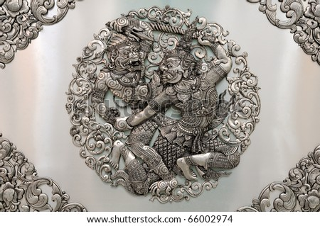 HANUMAN Silver lacquer Show stories of Thai literature. Global Crafts Thai artists. Place in Chiang Mai, Thailand. - stock photo