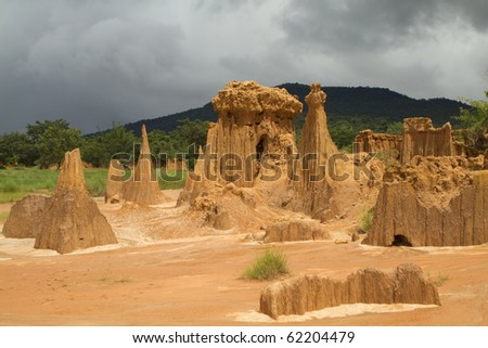 Happened from the soil erosion of Rain and wind naturally, Lalu Thailand - stock photo
