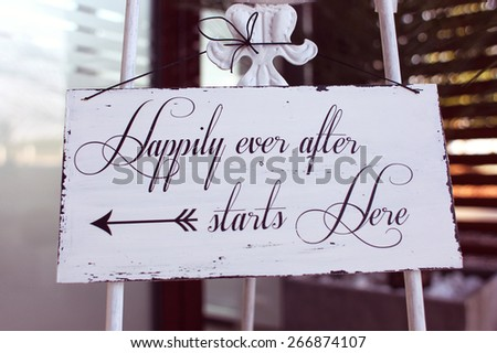 Happily ever after text - stock photo