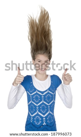 Happily young woman hair stands on ends on isolated white background - stock photo