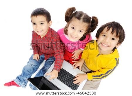 Happiness, beautiful childhood, laptop, group of children - stock photo