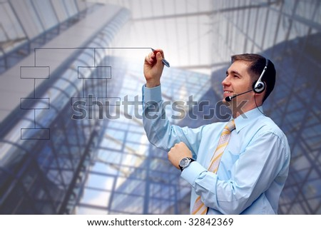 Happiness business men on business architecture background - stock photo