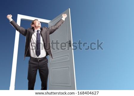 happiness businessman staning on door - stock photo