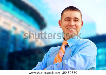 Happiness businessmen on business architecture background - stock photo