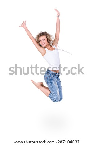 happiness, freedom, movement people, smiling young woman jumping,  isolated on white background in full length - stock photo
