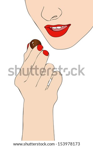 Happiness is a good chocolates - stock photo
