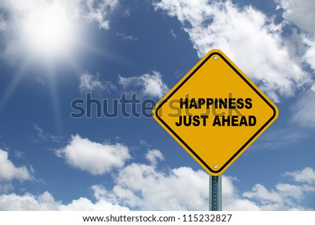 Happiness just ahead road sign on a sky background - stock photo