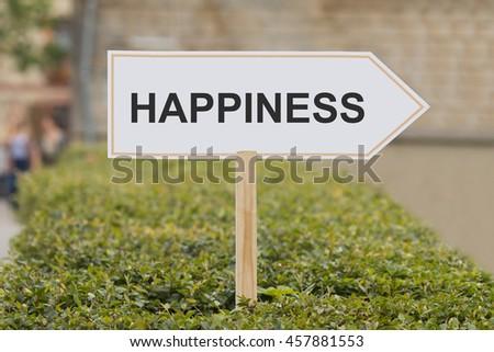 happiness signpost - stock photo
