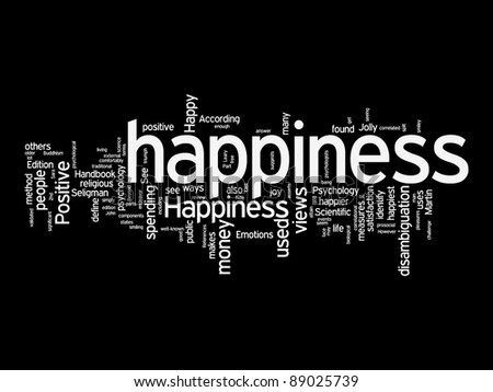 happiness text clouds on black background - stock photo