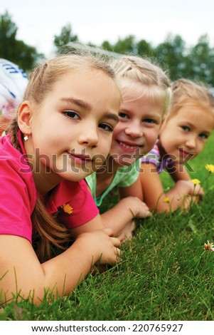 Happiness without limit, happy children together - stock photo