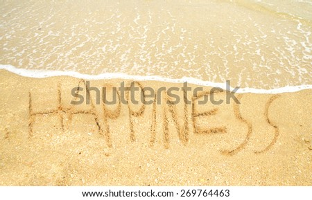 happiness written on the shoreline in the sand at the ocean - stock photo