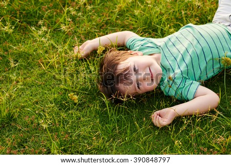 Happy adorable little boy lying in green grass - stock photo