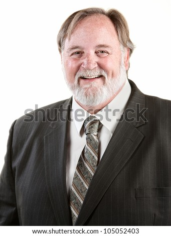 Happy adult laughing man over white background - stock photo