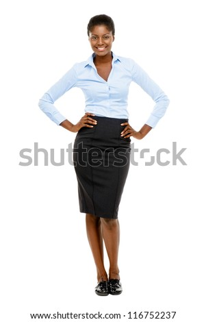 Happy African American business woman isolated on white background - stock photo