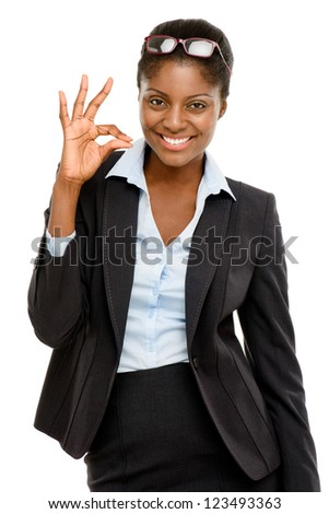 Happy African American business woman okay sign isolated on white background - stock photo
