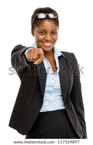 Happy African American business woman pointing isolated on white background - stock photo