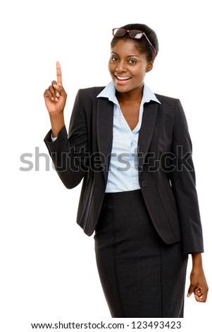 Happy African American business woman thinking of idea isolated on white background - stock photo