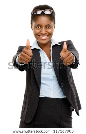 Happy African American business woman thumbs up isolated on white background - stock photo